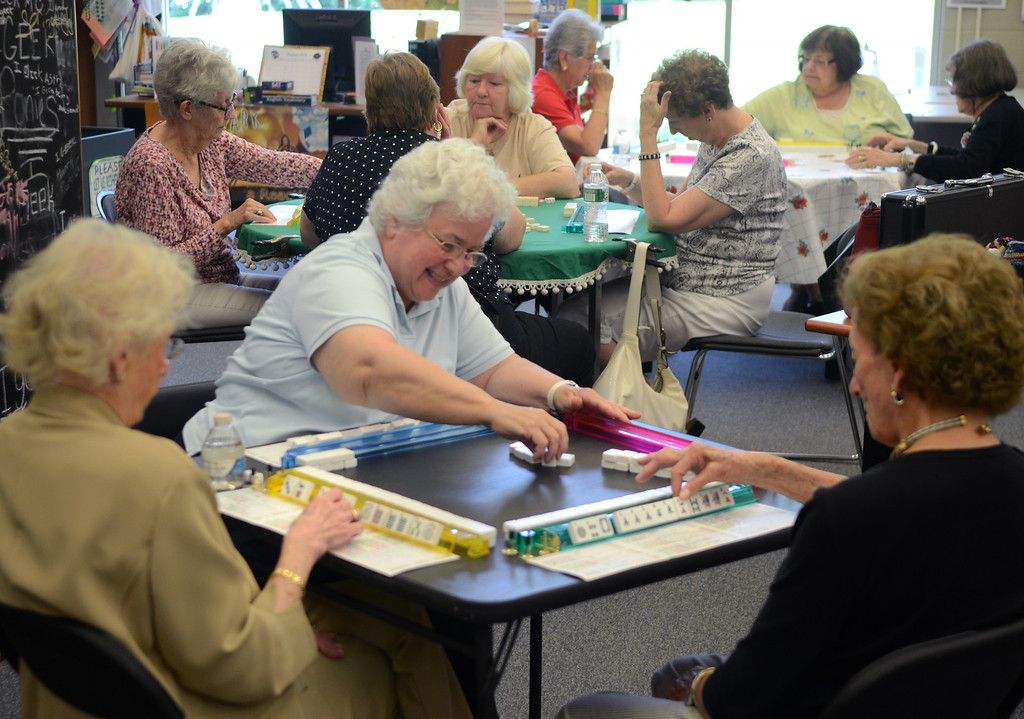 . A group of women play Mah Jongg in the Young Adult section of the  Springfield Township Library on Thursday August 7,2014. Photo by Mark C Psoras/The Reporter