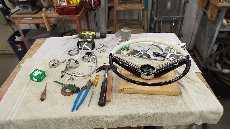 Assembling the steering wheel along with making new parts to make the horn ring work.