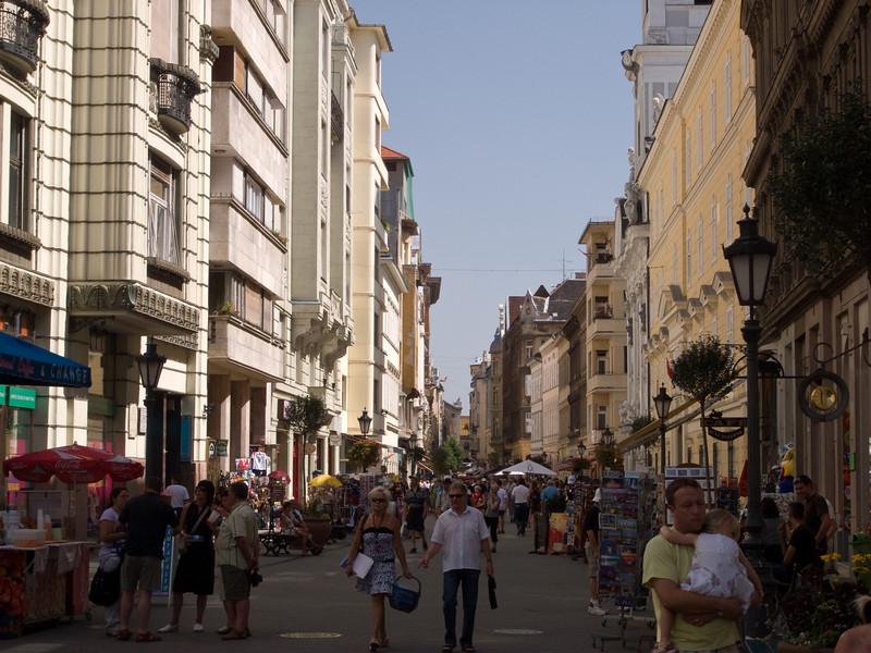 Vaci Utza (the main pedestrian street in Budapest)