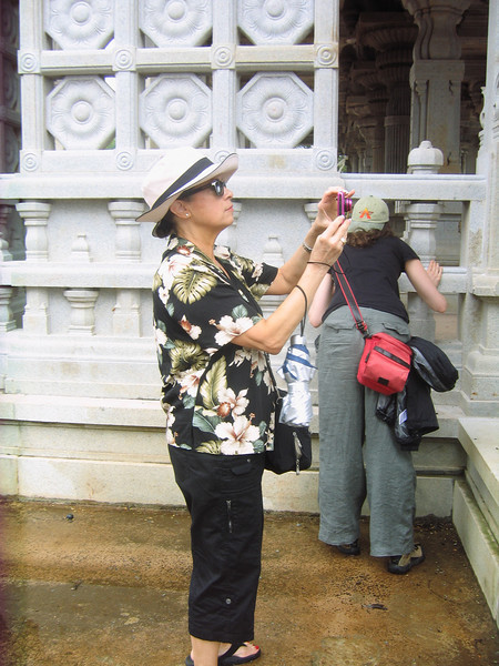 Linda taking photos at the beautiful Hindu Monastery.