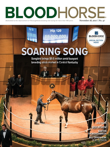 November 18, 2017 issue 47 cover of BloodHorse featuring Soaring Song as Songbird brings $9.5 million amid buoyant breeding stock market in Central Kentucky, Best in Show, Barton Thoroughbreds, Bill Oppenheim: In My Opionion.