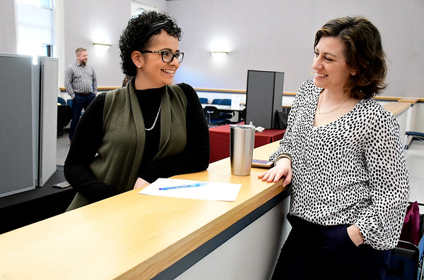 3/5/2020 Mike Orazzi | Staff New Britain Park & Recreation's Ashley Wooten and Maggie Winiarski wait for prospective employees during a job fair at New Britain City Hall on Thursday afternoon.