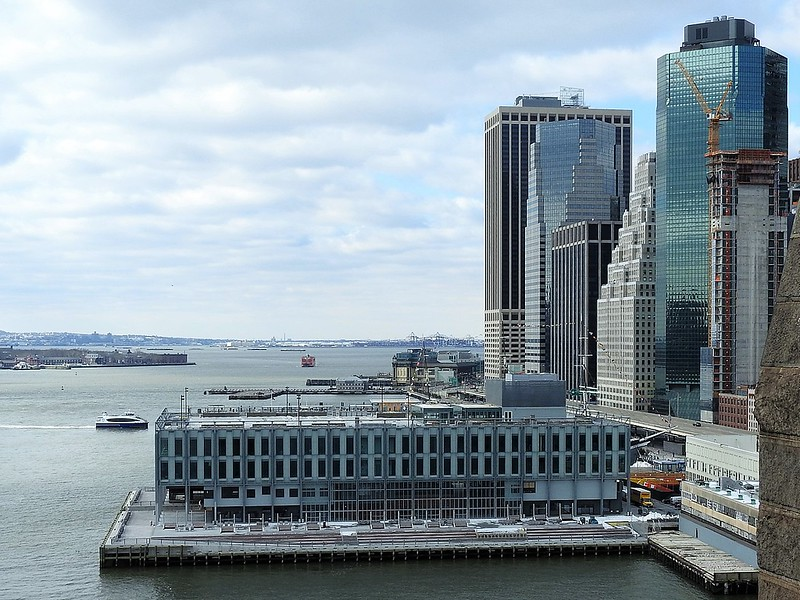 Looking southwest at newly renovated Pier 17 on a mostly cloudy late morning