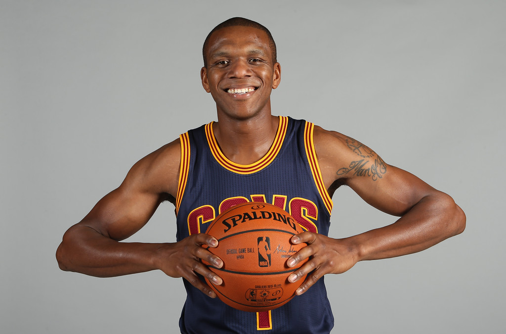 . Cleveland Cavaliers\' James Jones poses during the NBA team\'s media day, Monday, Sept. 28, 2015, in Independence, Ohio. (AP Photo/Ron Schwane)