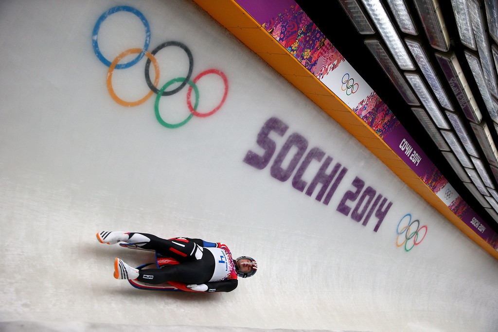 . Christopher Mazdzer of the United States competes during the Men\'s Luge Singles on Day 2 of the Sochi 2014 Winter Olympics at Sliding Center Sanki on February 9, 2014 in Sochi, Russia.  (Photo by Paul Gilham/Getty Images)