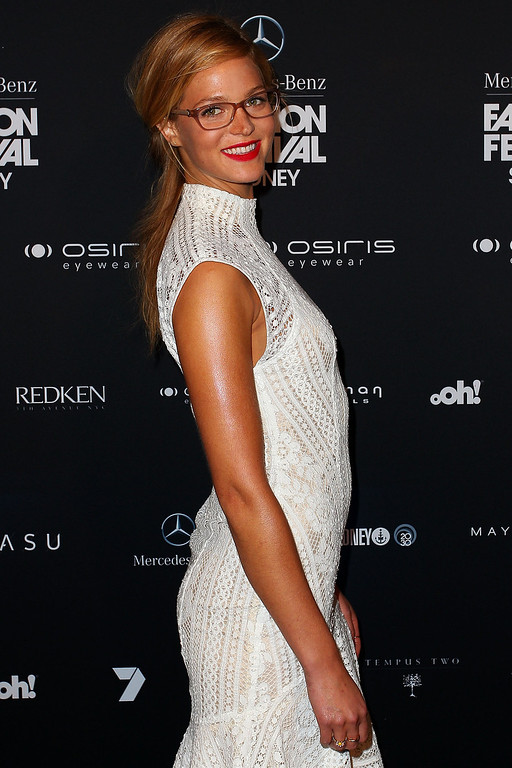 . Erin Heatherton arrives at the MBFWA Trends show during Mercedes-Benz Fashion Festival Sydney 2013 at Sydney Town Hall on August 21, 2013 in Sydney, Australia.  (Photo by Lisa Maree Williams/Getty Images)