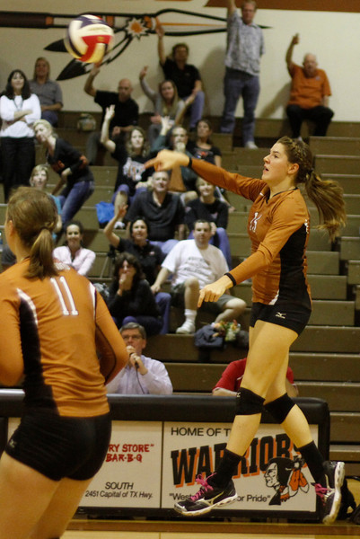 Westwood's Sarah Afflerbaugh goes up for a kill against Pflugerville on Tuesday at Westwood High School.