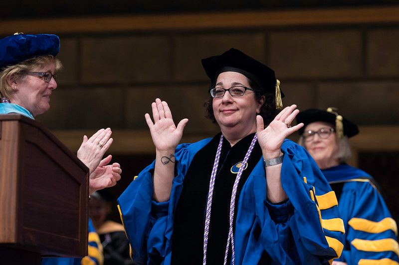 The Dean's Award for Excellence in Teaching was presented to Lisa A. Brophy.  // University of Rochester School of Nursing Commencement, Kodak Hall at Eastman Theatre May 17, 2019.  // photo by J. Adam Fenster / University of Rochester