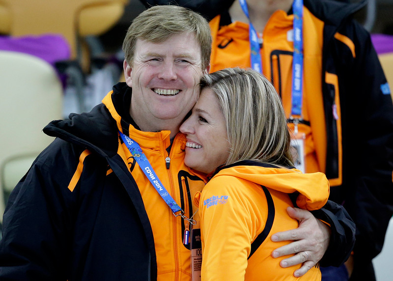 . Dutch King Willem-Alexander and Queen Maxima hug each after country skater Margot Boer won a bronze in the  women\'s 500-meter speedskating race at the Adler Arena Skating Center at the 2014 Winter Olympics, Tuesday, Feb. 11, 2014, in Sochi, Russia. (AP Photo/Patrick Semansky)