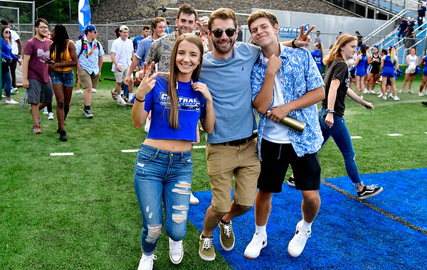 9/72019 Mike Orazzi | StaffrCCSU students head toward the student section against Merrimack College in New Britain on Saturday night.