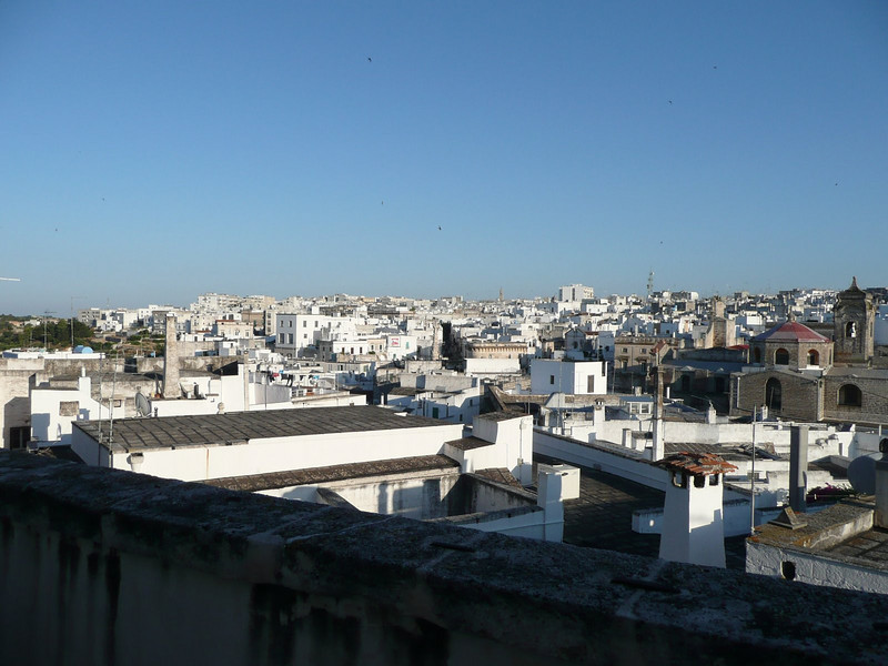 View of Ostuni from patio of La Terra