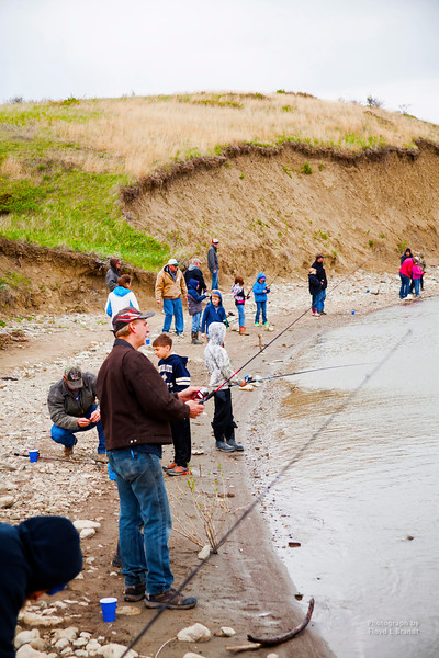 Havre Daily News/Floyd Brandt  Montana Fish and Wildlife gave a short lecture on how to catch fish and provided fishing-poles for Lincoln-McKinley 3rd grade classes at Beaver Creek Reservoir.