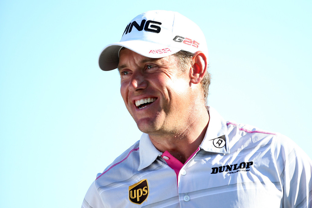 . AUGUSTA, GA - APRIL 13:  Lee Westwood of England  smiles on the 18th green during the third round of the 2013 Masters Tournament at Augusta National Golf Club on April 13, 2013 in Augusta, Georgia.  (Photo by Andrew Redington/Getty Images)
