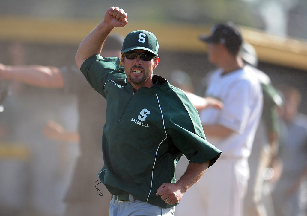. South (Torrance) head coach Grady Sain reacts after tying Northview 4-4 in the seventh inning of a CIF-SS prep second round playoff baseball game at Northview High School on Tuesday, May 21, 2013 in Covina, Calif. Northview won 5-4.  (Keith Birmingham Pasadena Star-News)