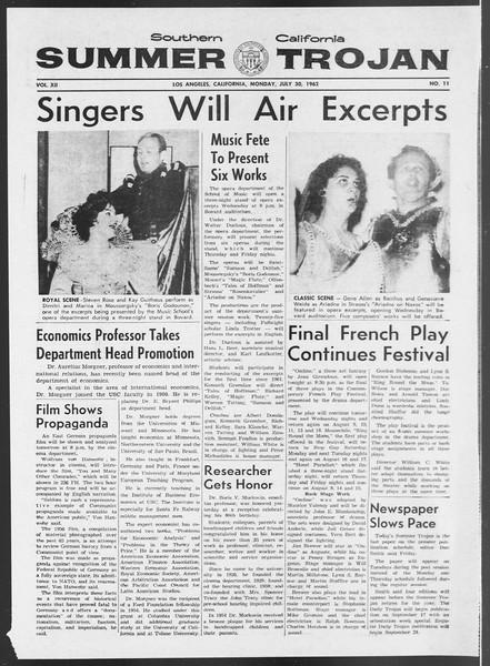 Summer Trojan, Vol. 12, No. 11, July 30, 1962
