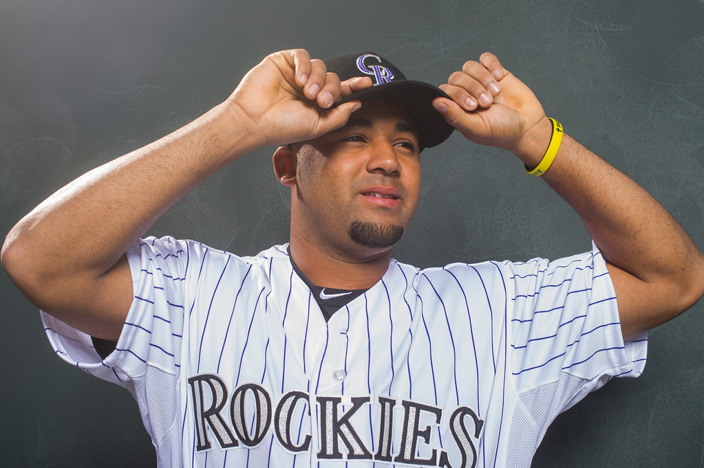 . Rafael Ynoa of the Colorado Rockies poses for a portrait during Photo Day at the Salt River Fields at Talking Stick on February 26, 2014 in Scottsdale, Arizona. (Photo by Rob Tringali/Getty Images)