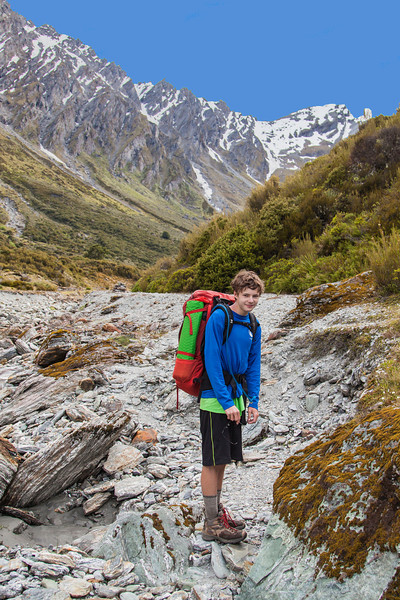 At the beginning of the Rees Saddle hike