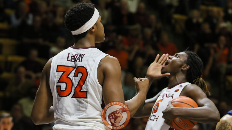 Zach LeDay and Chris Clarke celebrate after LeDay scored a basket and drew a foul. (Mark Umansky/TheKeyPlay.com)