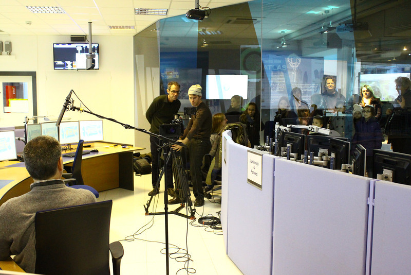 Setting up for an interview in CERN's ATLAS Control Room. Photo by David Marks.
