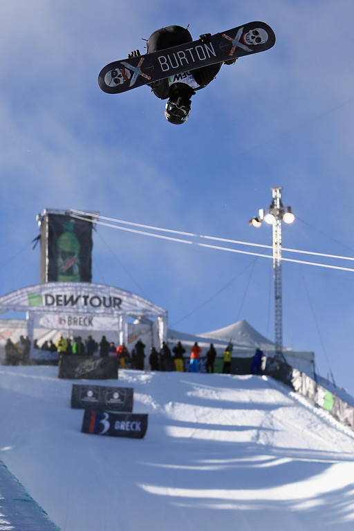 . Shaun White takes a practice run as he went on to finish second in the men\'s snowboard superpipe final at the Dew Tour iON Mountain Championships on December 14, 2013 in Breckenridge, Colorado.  (Photo by Doug Pensinger/Getty Images)