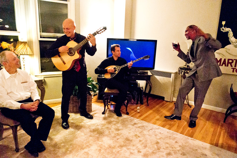 Bohemian Club afterglow party at Margaret Mitchell's - Freddy Clarke on guitar; Derek Mueller, seated