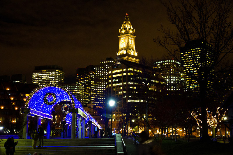 Christmas lights in Columbus Park, Boston