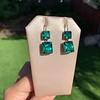 Georgian Double Drop Emerald Paste Earrings 1