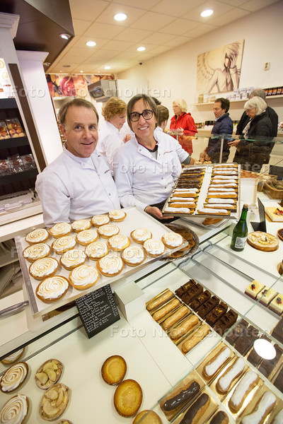 Franse bakkerij 'Philippe Galerne pâtisserie - Philippe en Nancy Galerne - DEN HAAG 19 OKTOBER 2015 - FOTO NICO SCHOUTEN