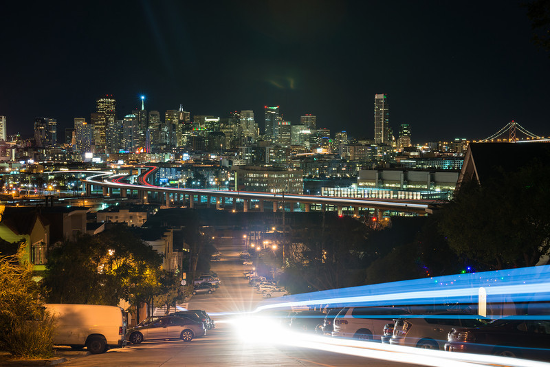 A car drives through my shot. I went a bit wider so you could see the bay bridge over there.