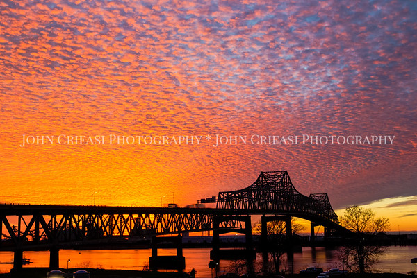 Mississippi River Bridge at sunset, Baton Rouge