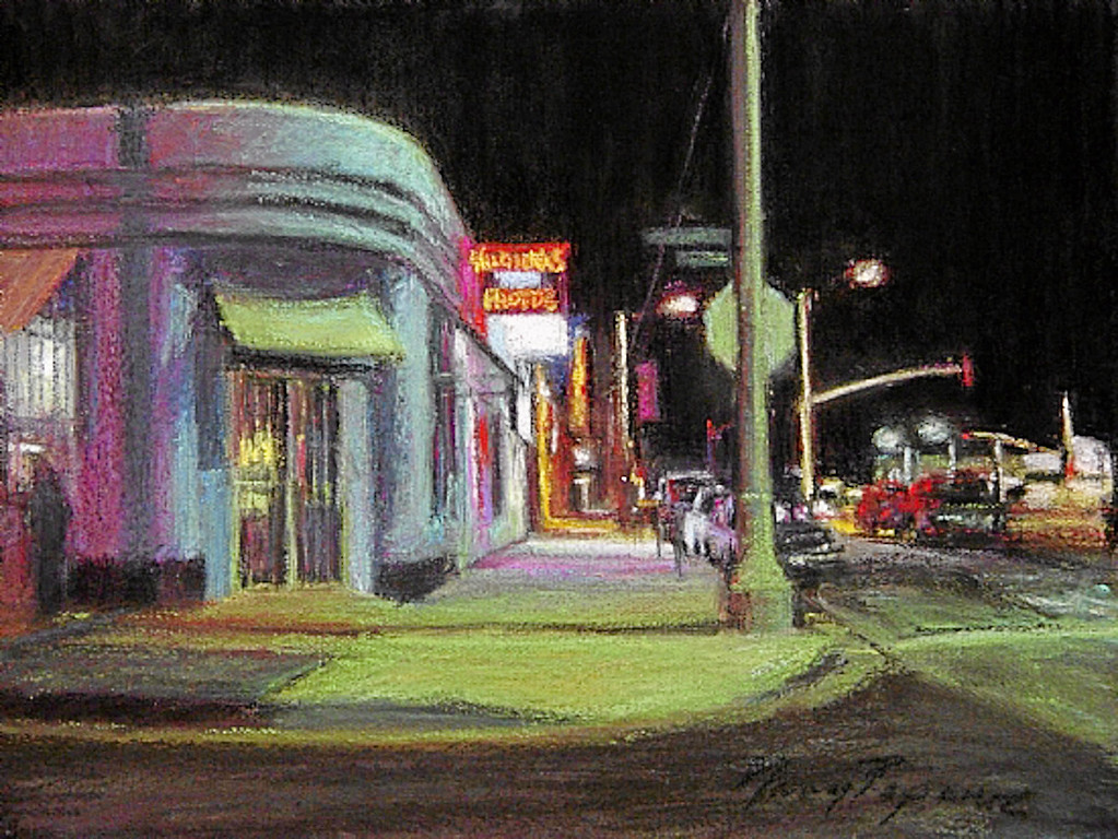 """. \""""Velvet-Night\"""" by Los Angeles pastel artist Nancy Popenoe.  Popenoe gets her inspiration from the streets and night scenes around her Los Angeles neighborhood.  Photo by David Crane/Los Angeles Daily News"""