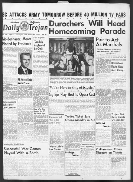Daily Trojan, Vol. 43, No. 34, November 02, 1951