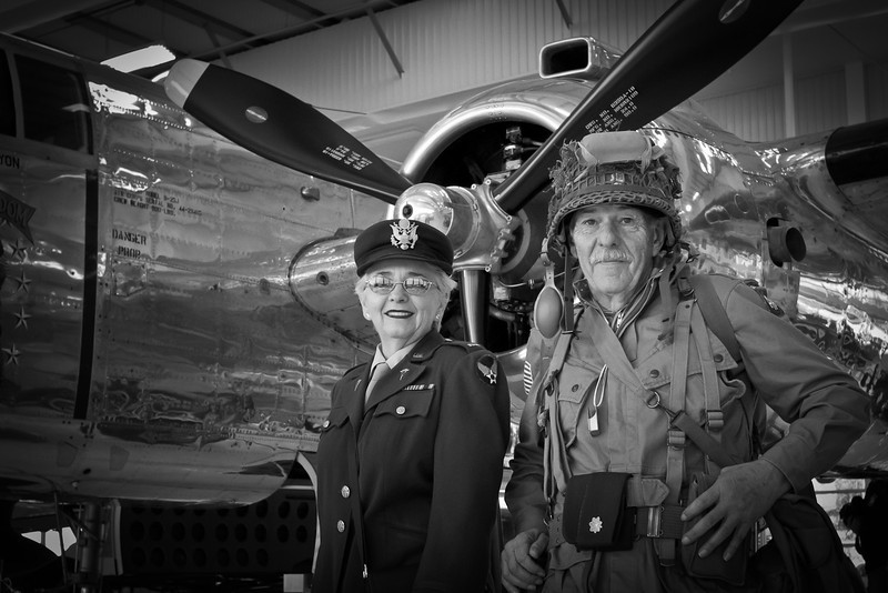 Simple click of these two very nice folks dressed in period at the Lyon's Air Museum.