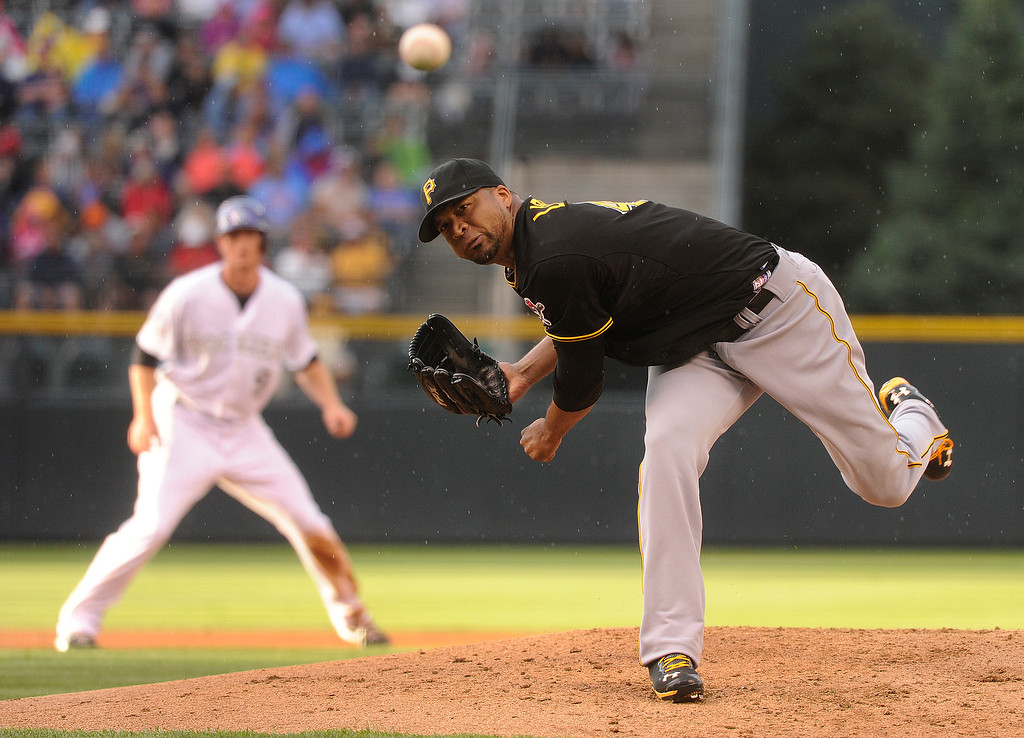 . DENVER, CO. - AUGUST 09: Colorado hitters jumped on Pirates starting pitcher Francisco Liriano early in the game. The Colorado Rockies hosted the Pittsburgh Pirates Friday night, August 9, 2013. Photo By Karl Gehring/The Denver Post