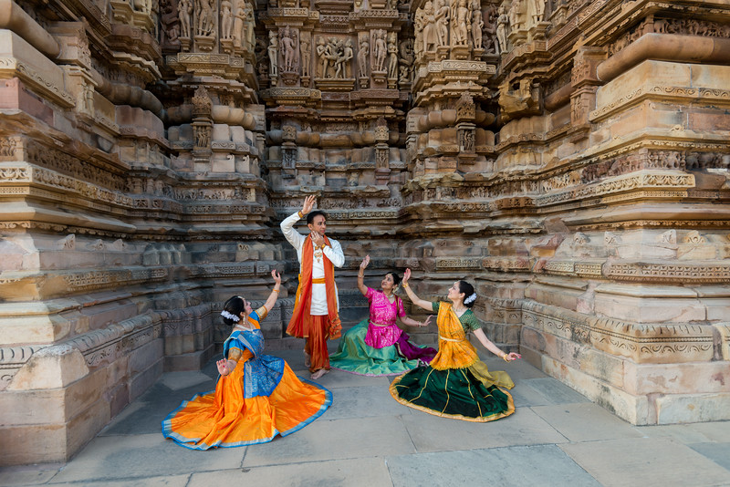 Anurag Sharma, Sarika Prabhu Haris, Mukta Sathe, and Rita Mustaphi. Rita Mitra Mustaphi, Katha Dance Theater, USA. While adept in the classical Kathak vocabulary it is infused with contemporary sensibility acquired from interest in expression, rhythm works and movement idioms.<br /> Khajuraho Dance Festival, Feb 2017. Colorful and brilliant classical dance forms of India with roots in the rich cultural traditions offer a feast for the eyes during a weeklong extravaganza. Khajuraho Temples in Madhya Pradesh are popular for their architectural wonders and sculptures.