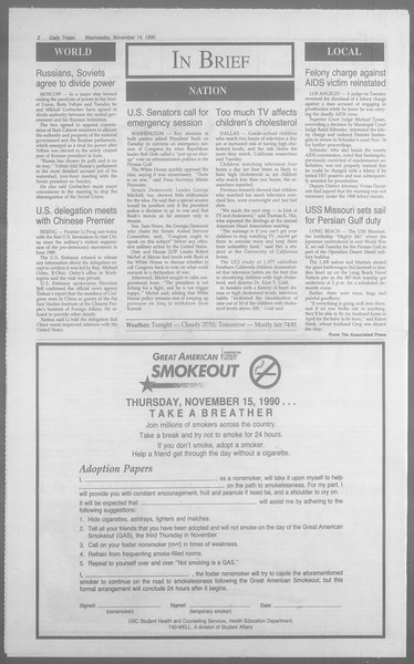 Daily Trojan, Vol. 113, No. 51, November 14, 1990