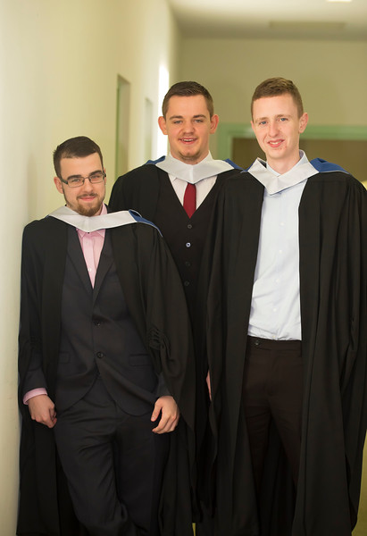 02/11/2016. Waterford Institute of Technology (WIT) Conferring Ceremonies November 2016. Pictured are Three Bachelor of Engineering in Building Services Engineering graduates have found work as BIM co-ordinators with EDC in Cork and London. From left are: Tom Taylor, Clonmel, Sean Butler, Myshall, Co  Carlow and Devon O'Leary, New Ross Co Wexford.. Picture: Patrick Browne