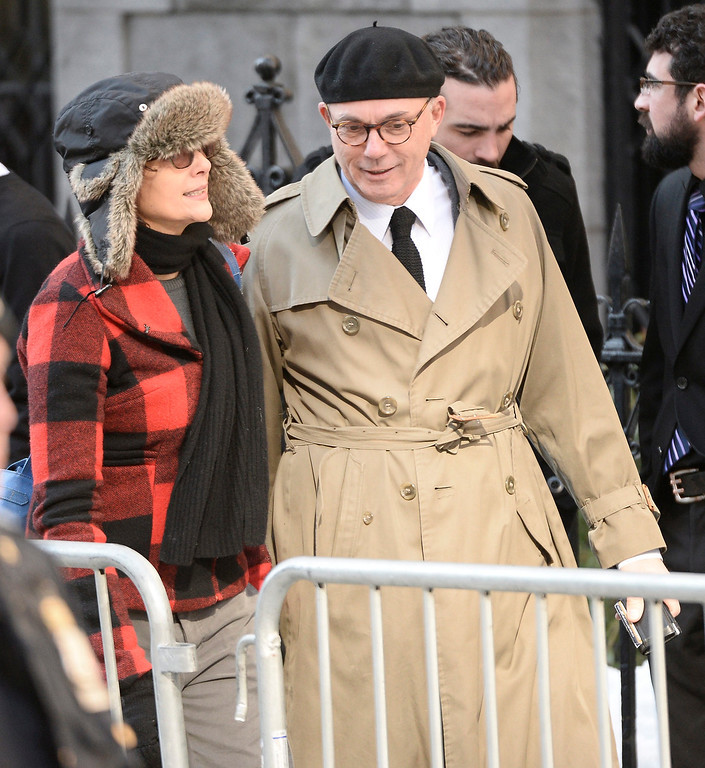 . S Actress Diane Keaton (L) arrives for the Funeral Mass for US Actor Phillip Seymour Hoffman at St Ignatius Church in New York, New York, USA 07 February 2014. Hoffman, 46, died 02 February from a suspected drug overdose.  EPA/ANDREW GOMBERT