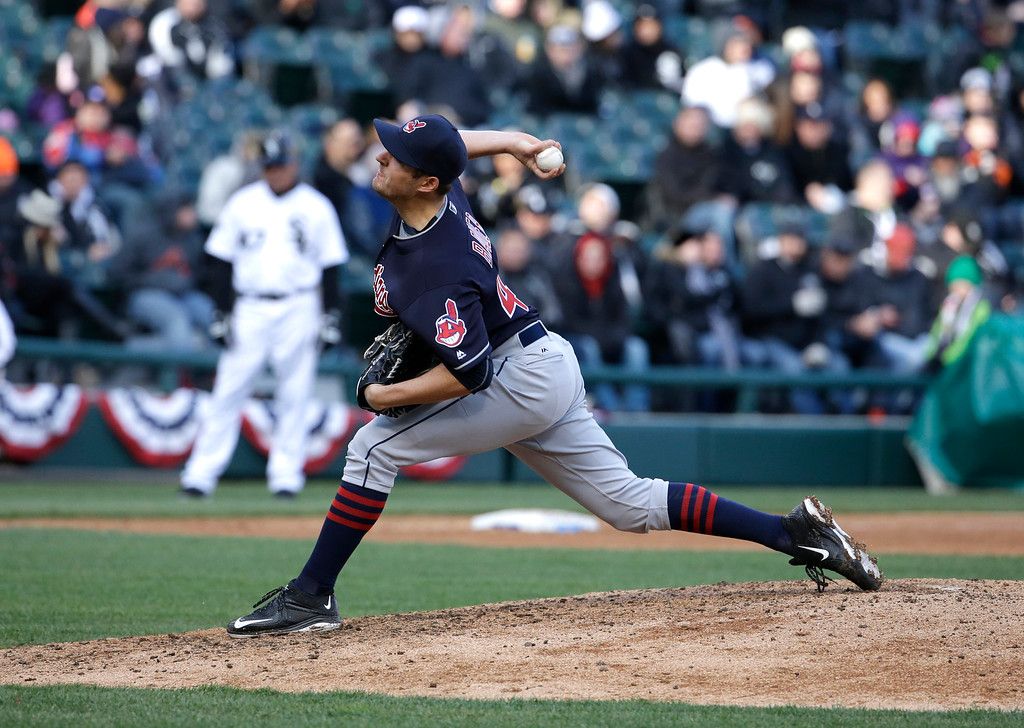 . Cleveland Indians relief pitcher Trevor Bauer throws against the Chicago White Sox during the seventh inning of a baseball game Friday, April 8, 2016, in Chicago. (AP Photo/Nam Y. Huh)