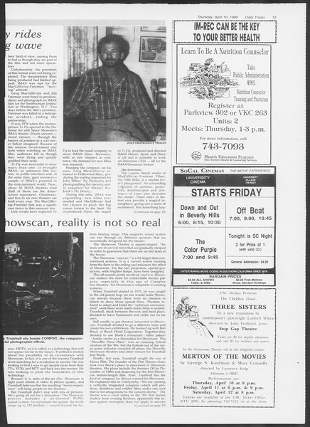 Daily Trojan, Vol. 100, No. 57, April 10, 1986