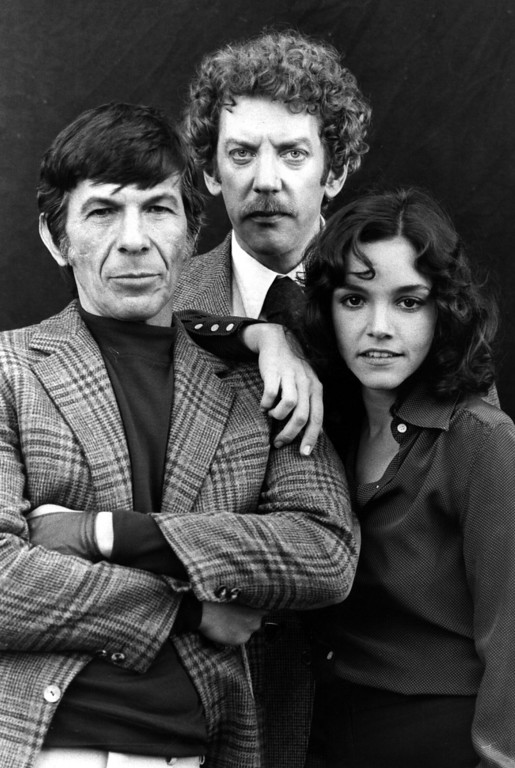 . circa 1975:  US actress Brooke Adams, US actor Leonard Nimoy (left) and Canadian actor Donald Sutherland, stars of the 1970\'s remake of the 1950\'s film \'Invasion of the Body Snatchers\'.  (Photo by Hulton Archive/Getty Images)