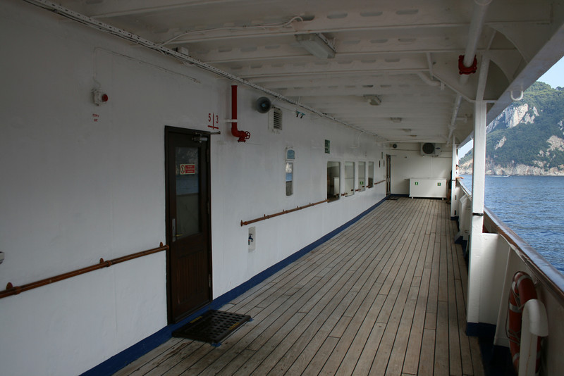 On board T/S FUNCHAL : walkway, Promenade deck.