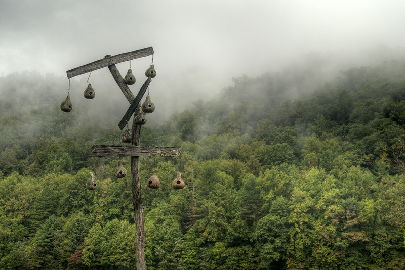 Heavy fog shrouds the mountains at the Oconaluftee Visitor Center at the southern entrance to the Great Smoky Mountains National Park in Cherokee, NC on Monday, September 29, 2014. Copyright 2014 Jason Barnette