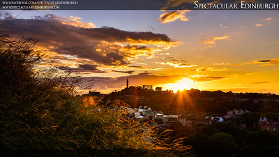 Sunset behind Calton Hill