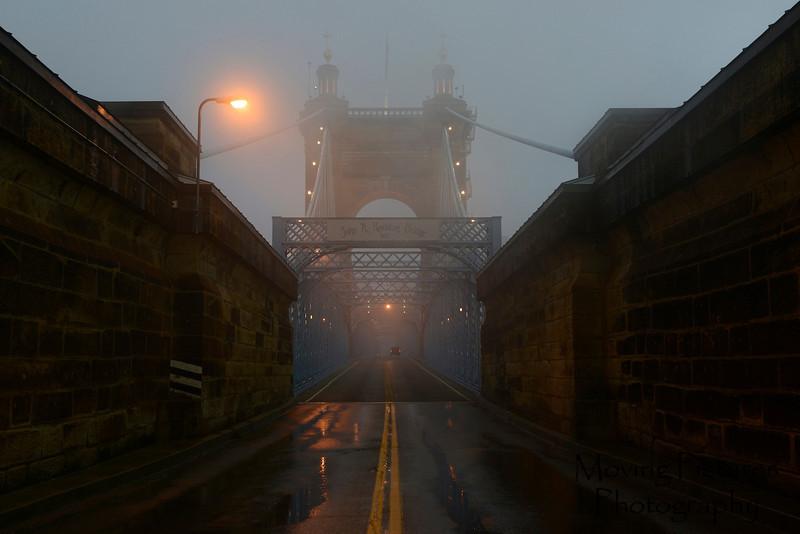 Roebling Suspension Bridge - foggy approach