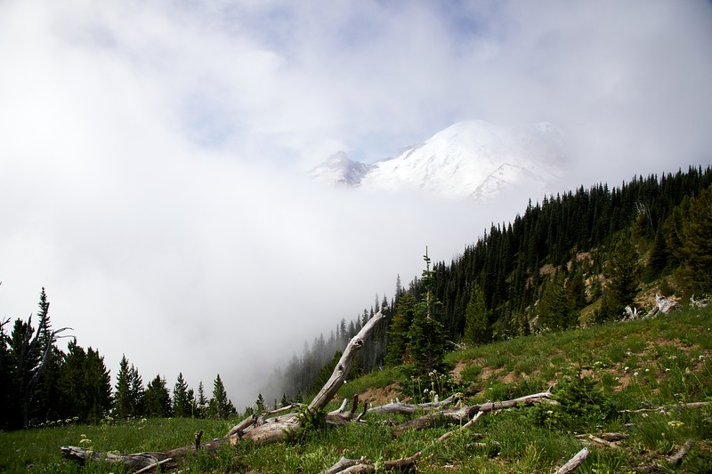 Mt Rainier through the clouds. Mount Ranier National Park, Washington.