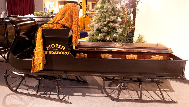 An open sleigh hearse