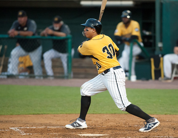 08/28/18 Wesley Bunnell | Staff The New Britain Bees vs the York Revolution on Tuesday night at new Britain Stadium. Angelo Songco (30).