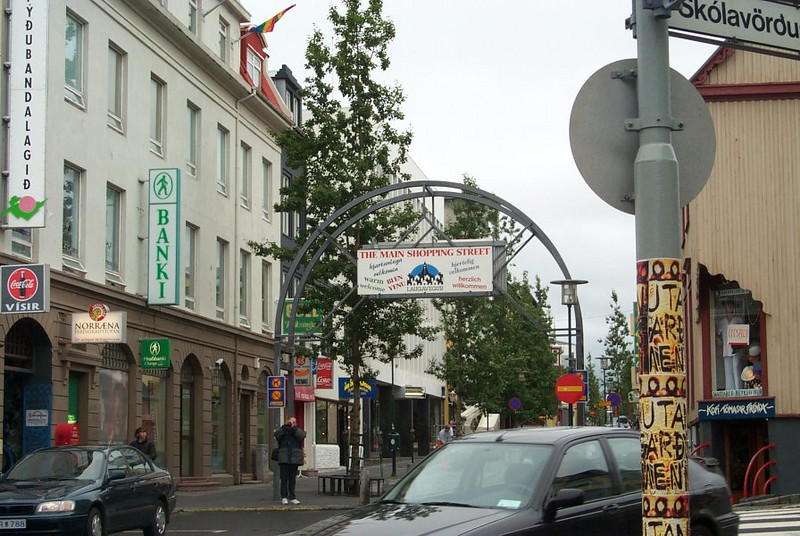 The main shopping street at Downtown Reykjavik in Iceland