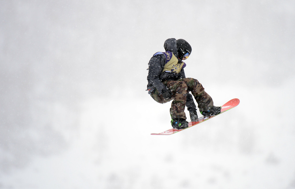 . VAIL, CO. - MARCH 1: Jamie Nicholls is competing during the men\'s slopestyle final of Burton U.S. Open. March 1, 2013. Vail, Colorado. (Photo By Hyoung Chang/The Denver Post)